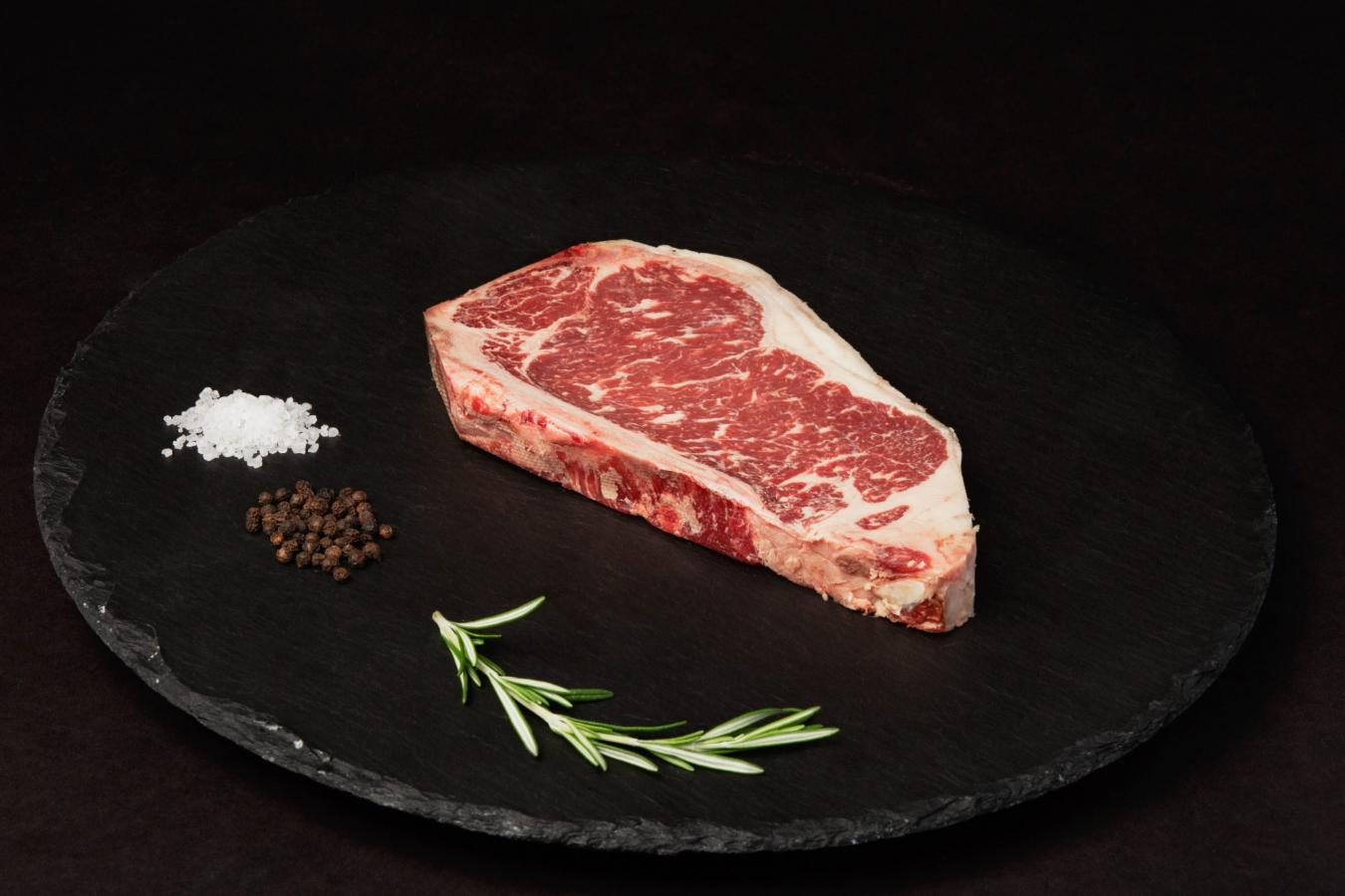 Beef Upper 1/3 Choice Angus Dry Aged Bone In NY Strip